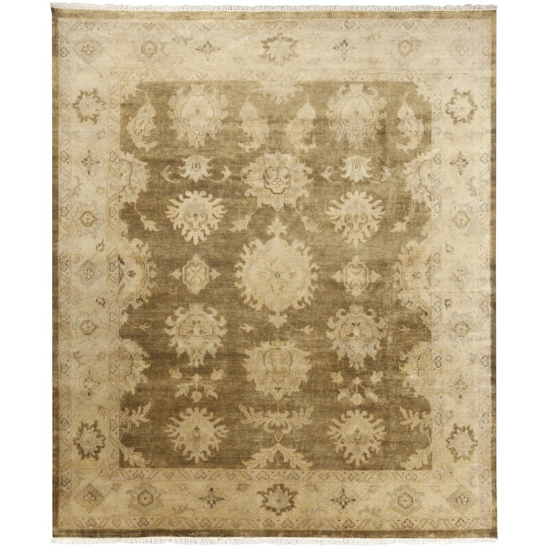 Alcott Hill Moline Hand-Knotted Wool Beige/Gold Area Rug, Size: Rectangle 8 x 10