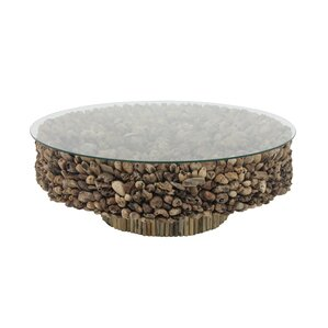 Alston Natural Round Driftwood and Glass Coffee Table by Foundry Select