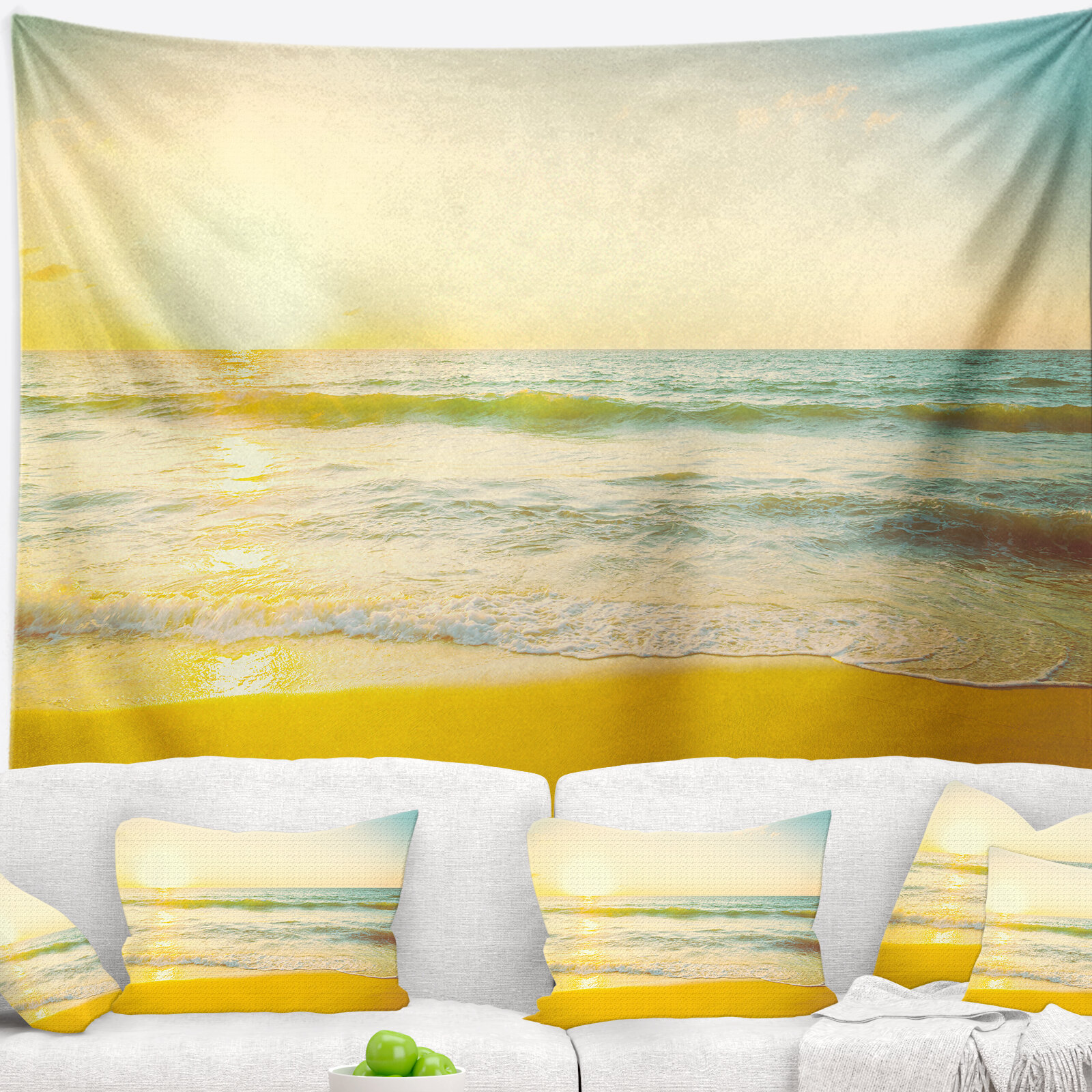 East Urban Home Seascape Calm and Colorful Sunset at Beach Tapestry ...