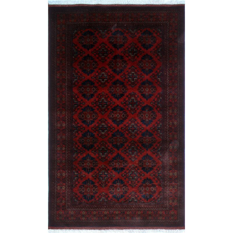 One Of A Kind Abeyta Hand Knotted Red Geometric Area Rug