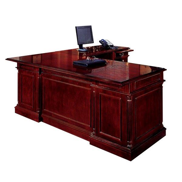 Aspenhome Warm Cherry Executive Modular Home Office: Darby Home Co Prestbury L-Shape Executive Desk With Center