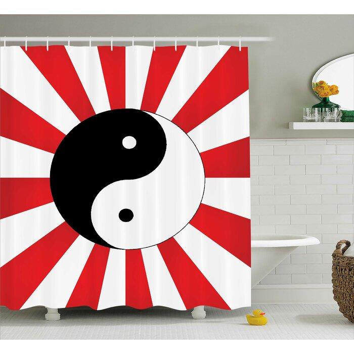 Red Ying Yang Pop Art Asian Shower Curtain