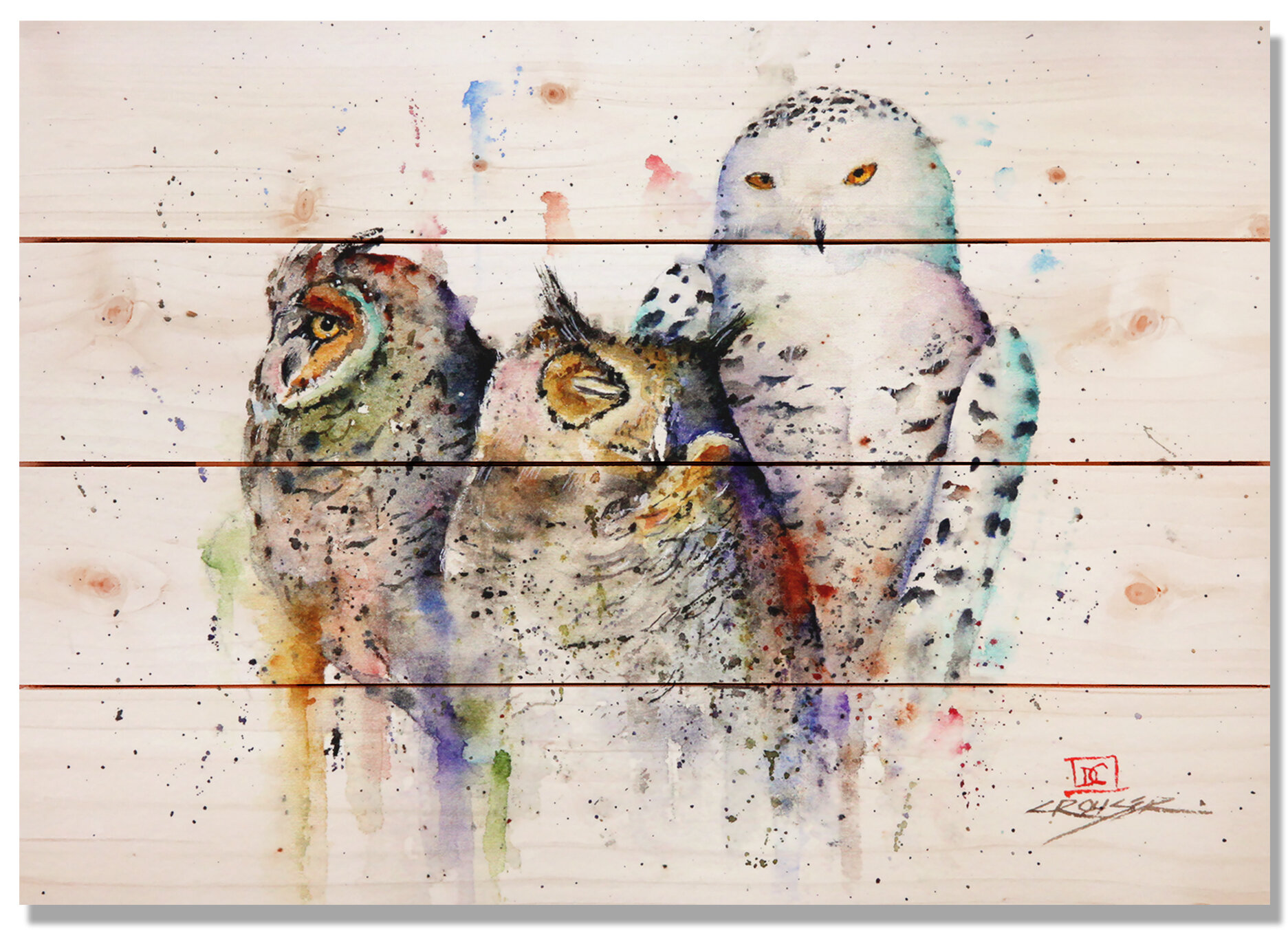 Daydream Hq Sig Series Owl Trio By Dean Crouser Painting Print On Wood Wayfair