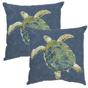 Toulouse Turtle Print Outdoor Throw Pillow (Set of 2)