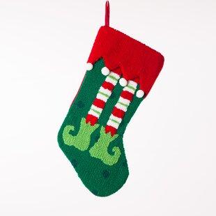 Handmade Hooked Elf Legs Christmas Stocking