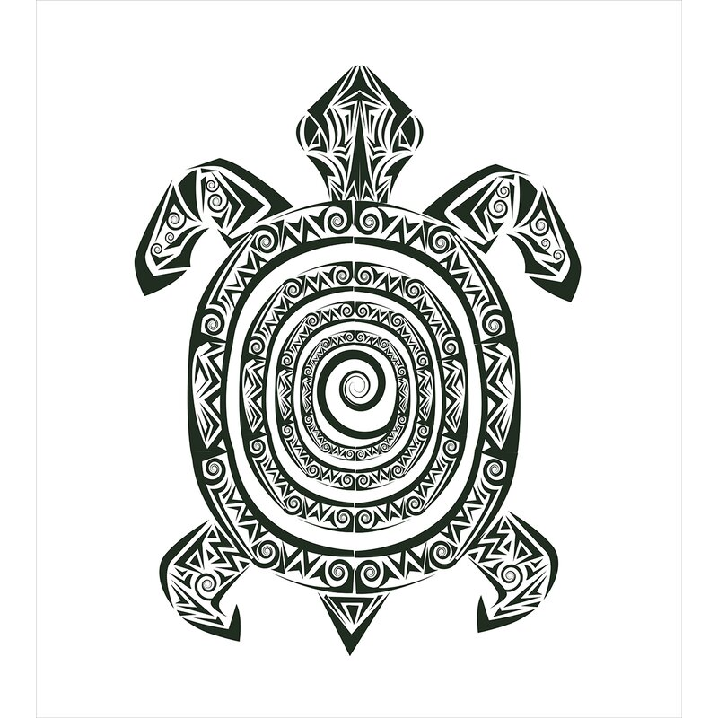 99b60f06ffecd Turtle Maori Tattoo Style Figure of Sea Animal Tribal Spiral Form Ancient  Tropical Duvet Cover Set