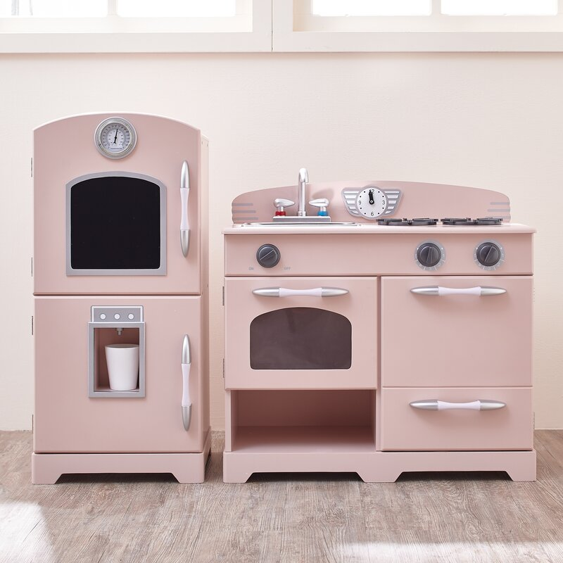 2 piece wooden play kitchen set - Play Kitchen