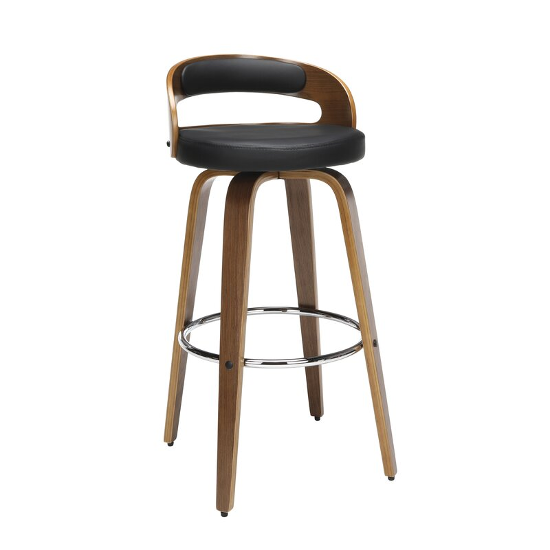 Super Labelle Mid Century Modern Low Back Bentwood Frame 30 Swivel Bar Stool Dailytribune Chair Design For Home Dailytribuneorg