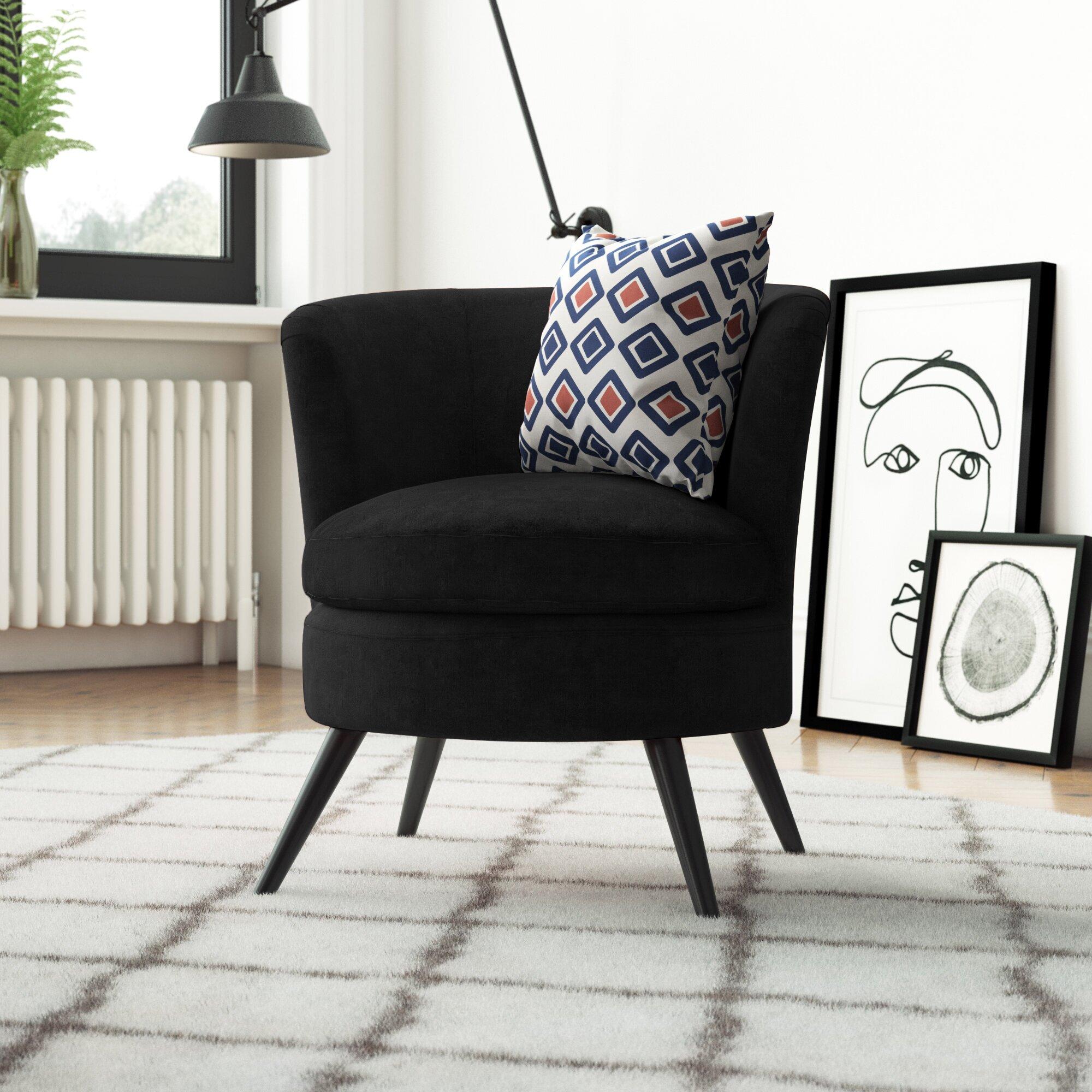 Black Velvet Round Tub Chair
