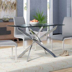 Coraline Glass Top Modern Dining Table..