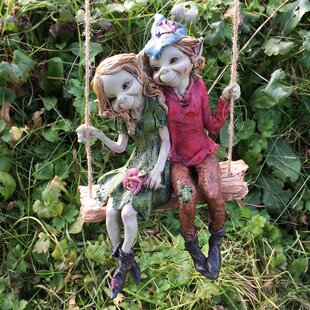 Charmant Pixie Couple On Hanging Swing Outdoor Decorative Garden Statue