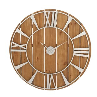 Cole Grey Oversized Wood And Metal 36 Wall Clock Wall Clocks Clocks