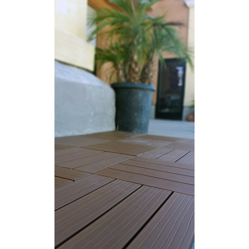 Vifah Composite Cedar 12 X 12 Interlocking Deck Tiles Wayfair