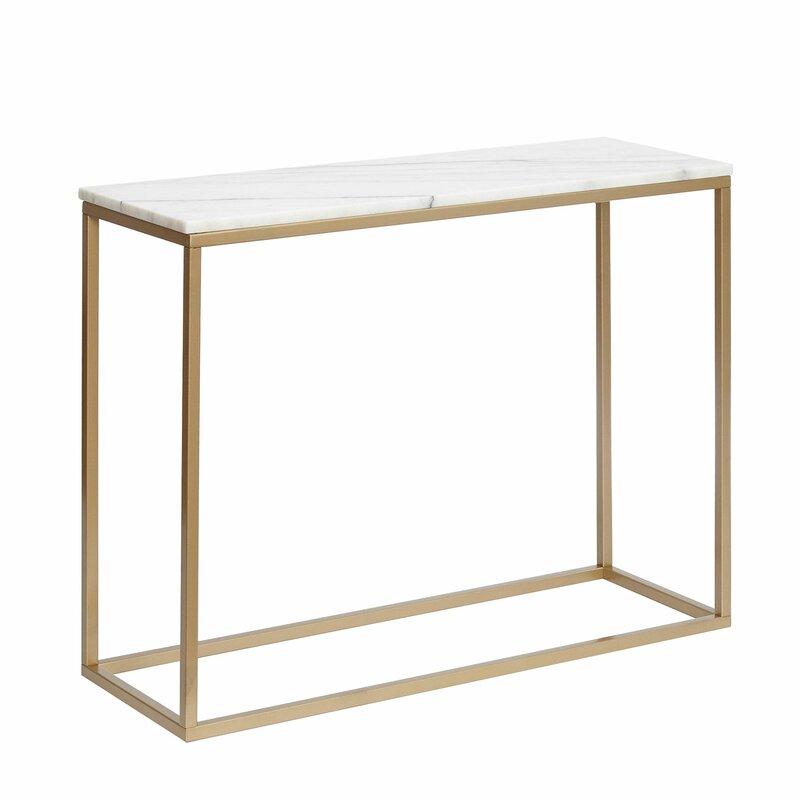 77534f068a17cb Hazelwood Home Marble Rectangular Console Table & Reviews | Wayfair ...