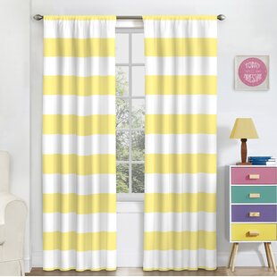 Crepeau Striped Blackout Rod Pocket Single Curtain Panel