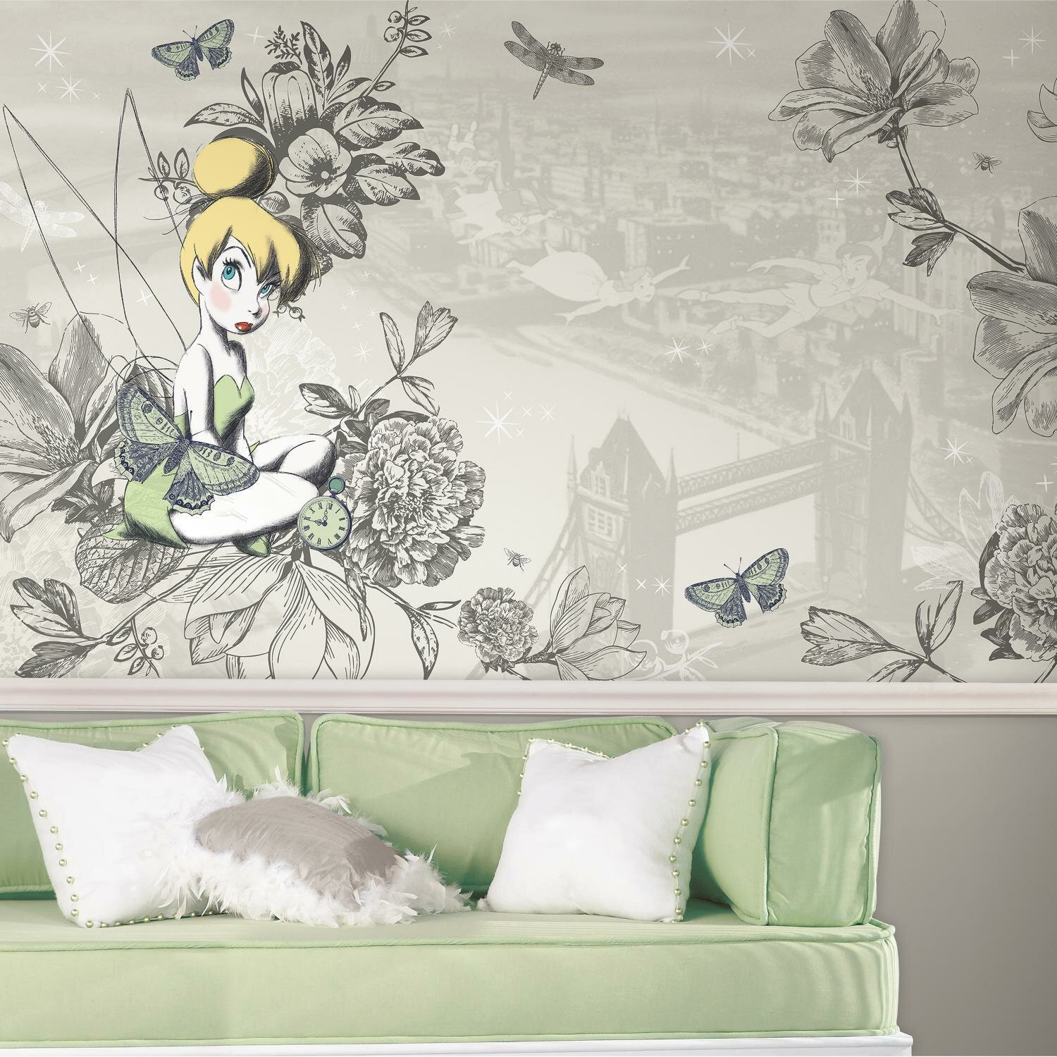 . Tinkerbell Chair Rail Prepasted 10 5  x 72  Wall Mural