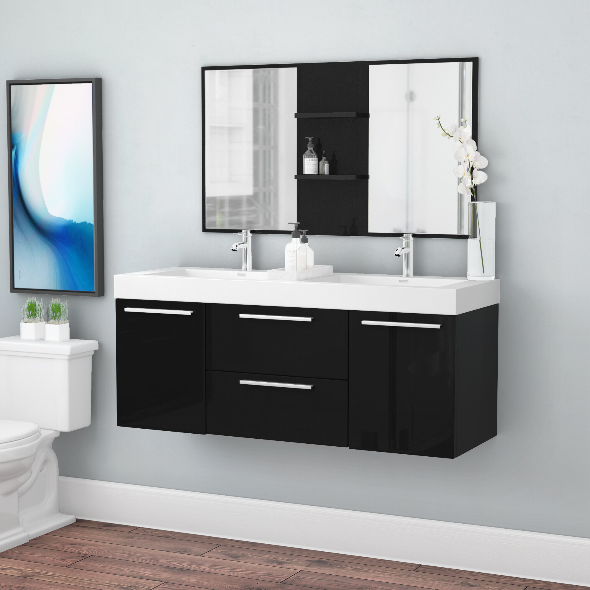 . Waldwick 54  Double Wall Mount Modern Bathroom Vanity Set with Mirror