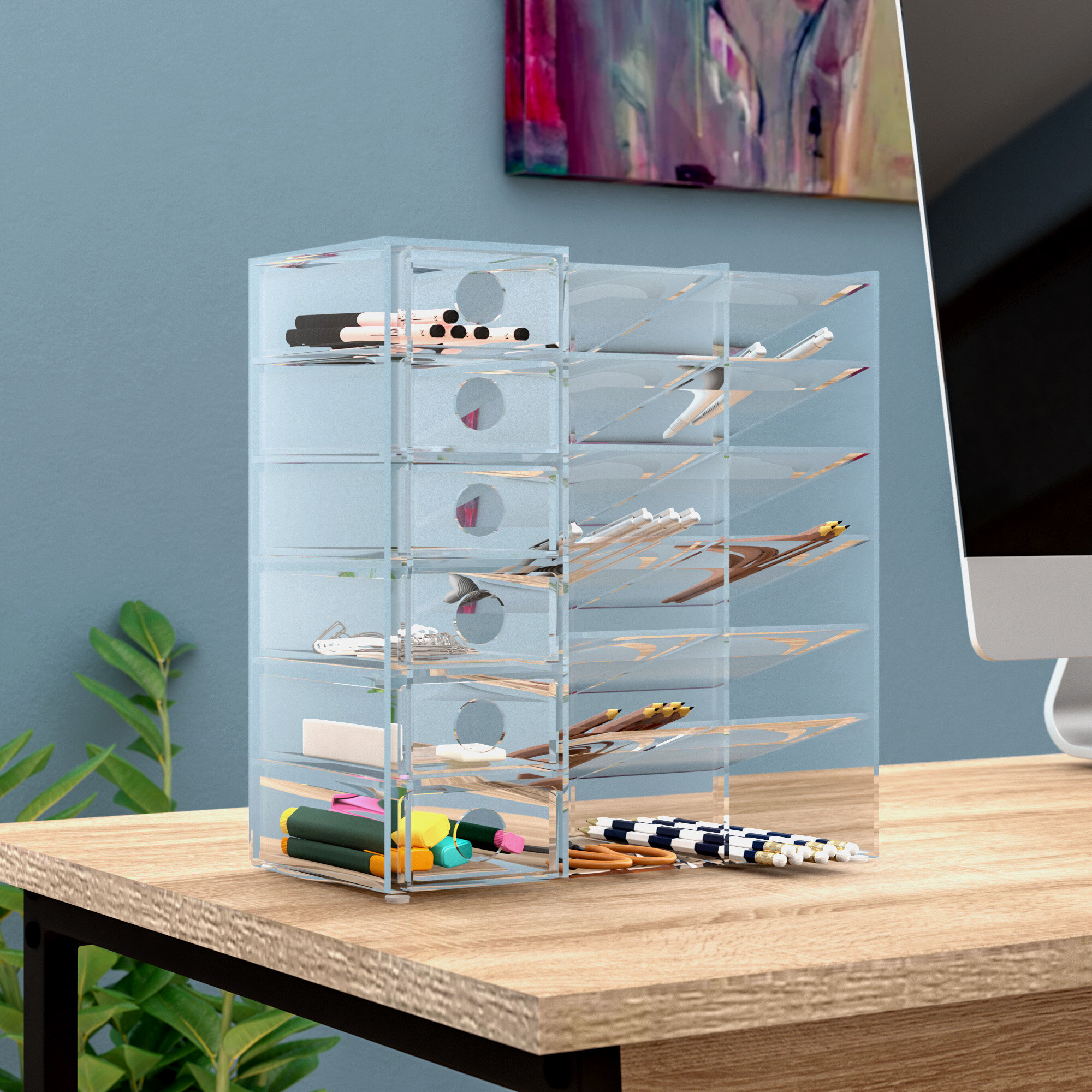 Charmant Rebrilliant Acrylic Six Shelf Office Supply Organizer Storage Drawer Case U0026  Reviews | Wayfair