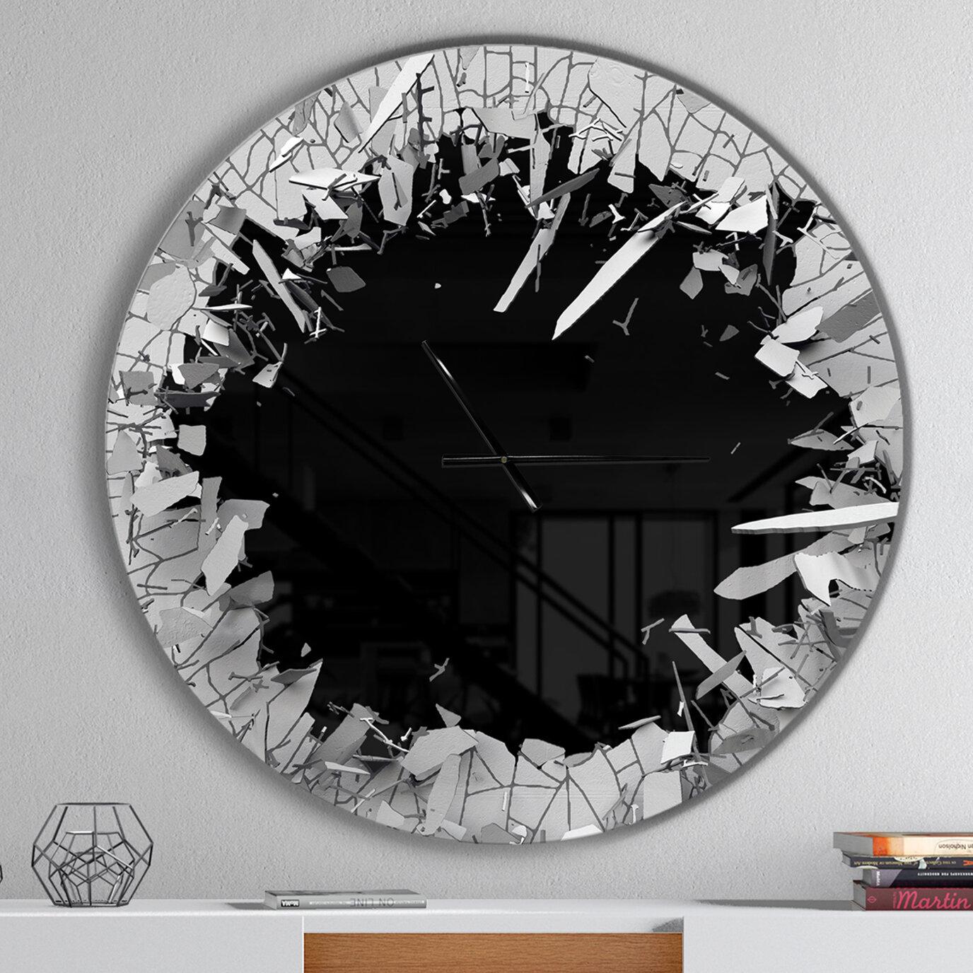 . Broken Wall 3D Design Wall Clock