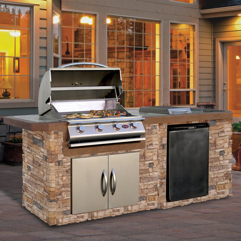 Top 5 Best Kitchen Cabinets Inserts For Sale 2017: Cal Flame 4-Burner Built-In Propane Gas Grill With Cabinet
