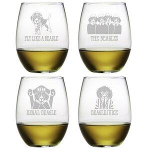4 Piece Beagle 21 oz. Stemless Wine Glass Set