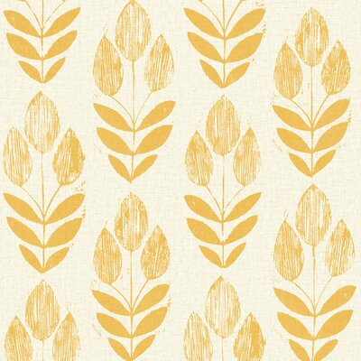 Brayden Studio Ladwig Scandinavian 33' x 20.5 Block Tulip Floral Wallpaper Roll Color: Yellow