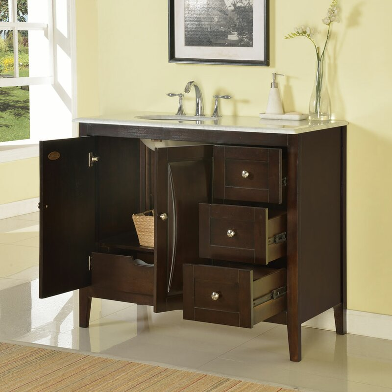 "Rustic Bathroom Vanity Set: Silkroad Exclusive 45"" Single Sink Cabinet Bathroom Vanity"