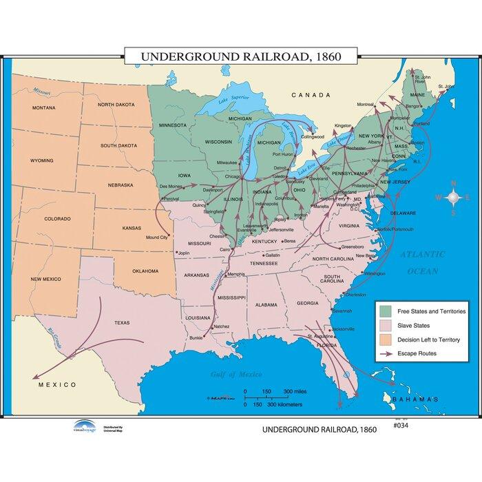Universal Map U.S. History Wall Maps - Underground Railroad | Wayfair.ca