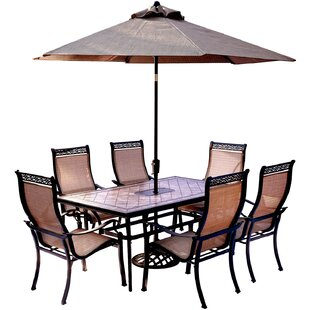 Bucci 7 Piece Dining Set With Table Umbrella And Stand