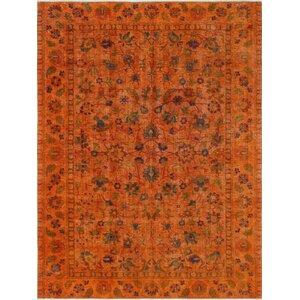 Cadena Vintage Distressed Overdyed Hand Knotted Wool Orange Area Rug