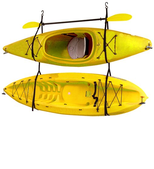 Kayak Wall Hanger >> Kayak Canoe Storage And Portage Hang 2 Deluxe Strap Storage System Ceiling Wall Mounted Kayak Rack