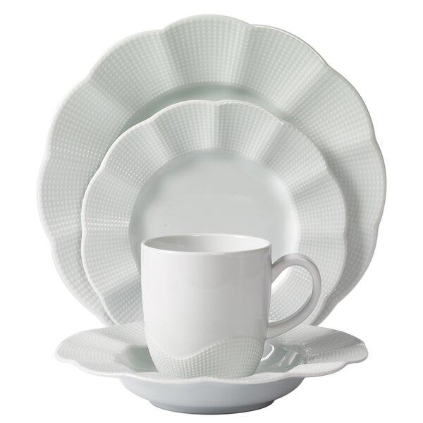 Mitterteich Milena Scalloped Porcelain 16 Piece Dinnerware Set Service for 4 | Wayfair  sc 1 st  Wayfair & Mitterteich Milena Scalloped Porcelain 16 Piece Dinnerware Set ...