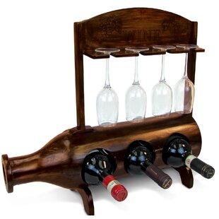 Othello Wooden 3 Bottle Tabletop Wine Bottle Rack