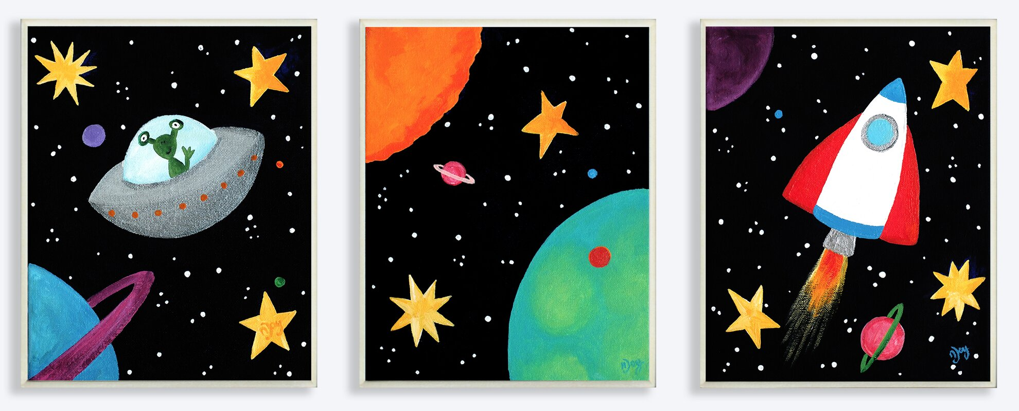 stupell industries the kids room outer space triptych 3. Black Bedroom Furniture Sets. Home Design Ideas