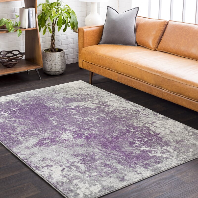 Candelaria Abstract Medium Gray Dark Purple Area Rug