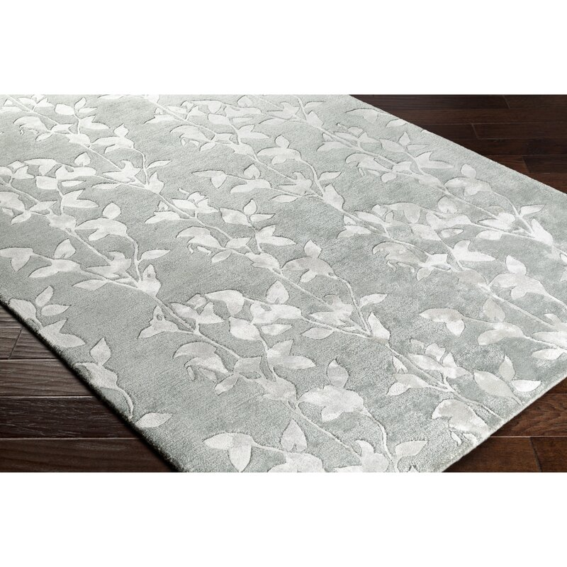 Alcott Hill Silvera Hand-Knotted Wool White Area Rug, Size: Rectangle 8 x 10