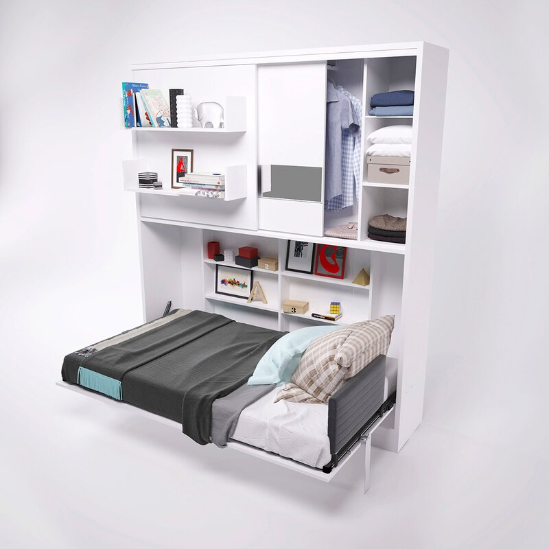 Gautreau Parete Letto Wall Twin Murphy Bed Color: High gloss white