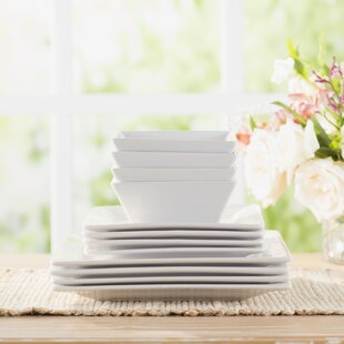 Wayfair Basics 12 Piece Square Dinnerware Set Service for 4 : white square dinnerware sets for 12 - pezcame.com