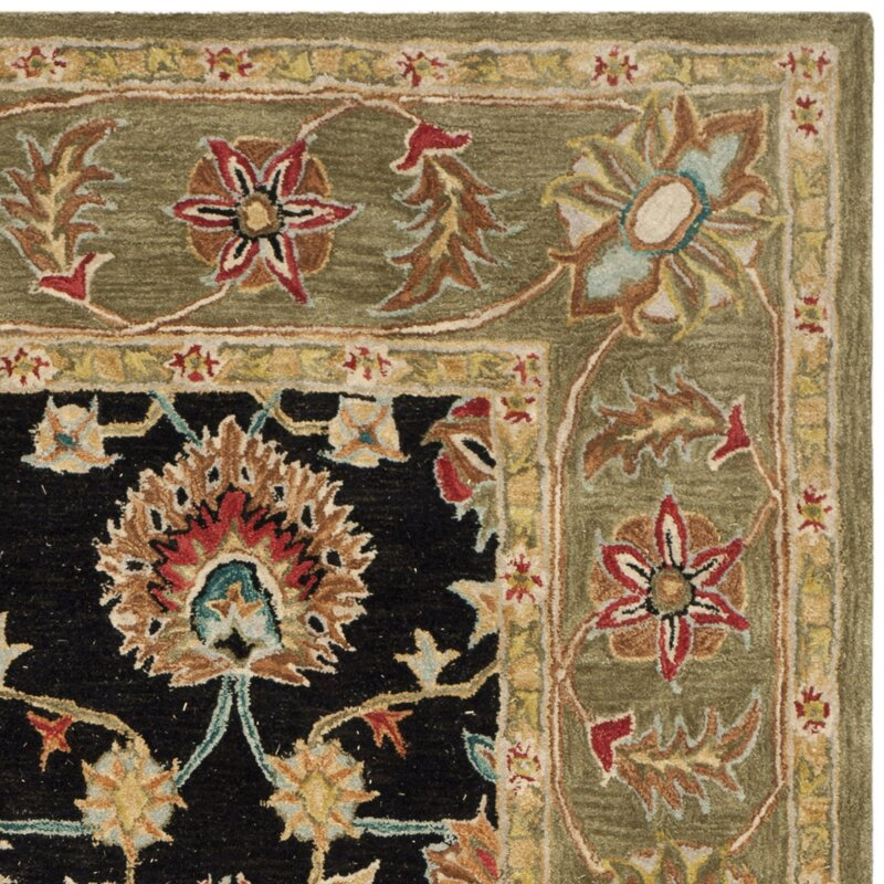 Black And Green Area Rugs safavieh anatolia black/green area rug & reviews | wayfair