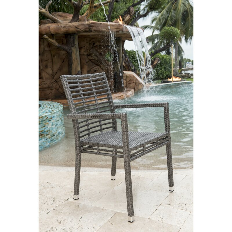 Panama Jack Graphite Stacking Patio Dining Chair Wayfair
