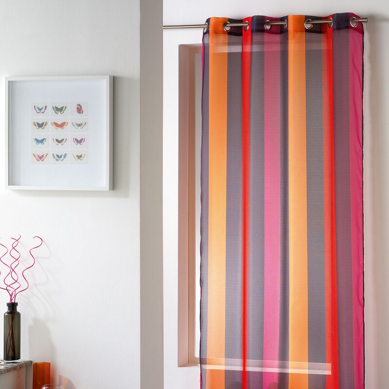 Evideco Riviera Striped Sheer Grommet Single Curtain Panel ...