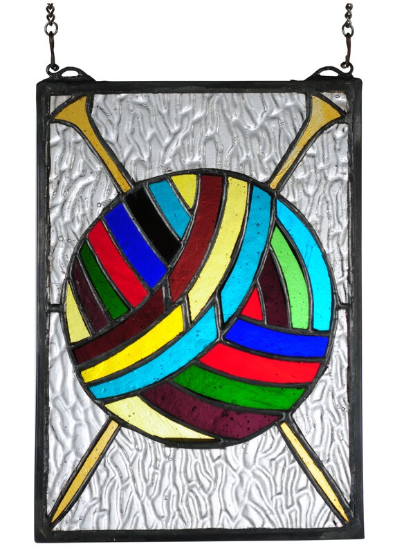 Ball of Yarn with Needles Stained Glass Window
