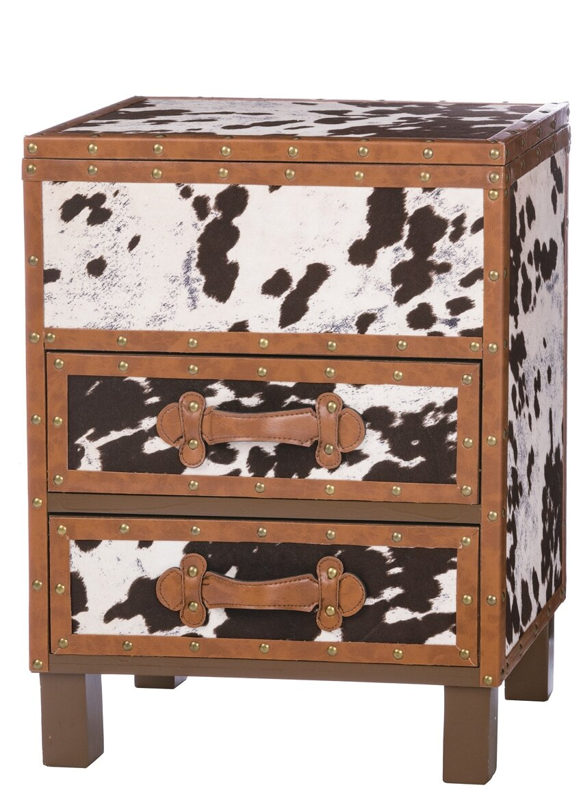 ad055518fe8 Loon Peak Odea Cowhide 2 Drawer Accent Chest   Wayfair