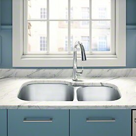 Kohler Undertone Preserve 35 1 8 L X 20 W 9 5 Under Mount Extra Large Medium Double Bowl Kitchen Sink Wayfair