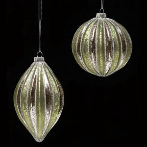 2 Piece Glass Ball/Finial Ornament Set