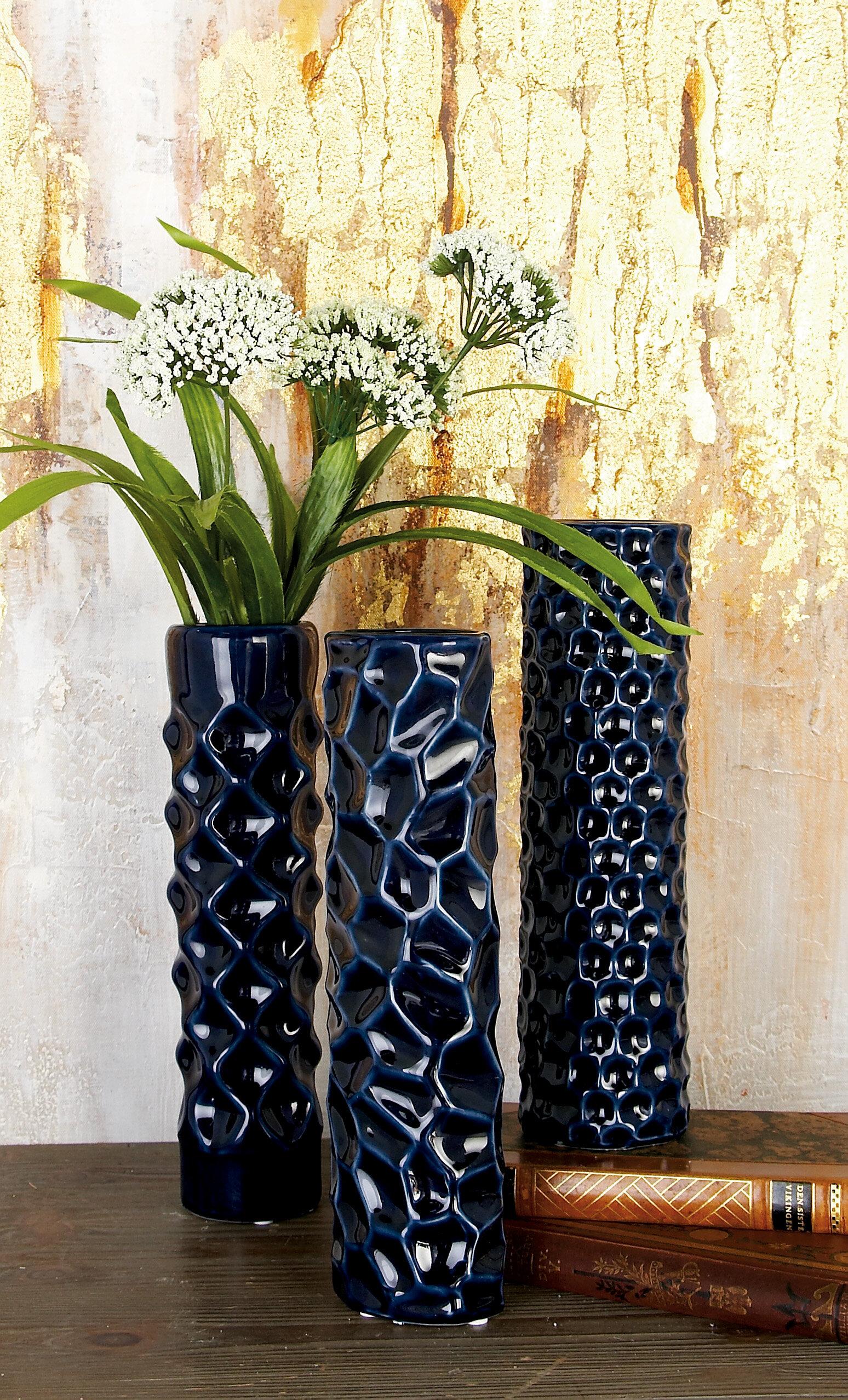Cylinder Ceramic Table Vase Set (Set of 3)