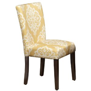 Natane Yellow & Cream Damask Parsons Chair (Set of 2) by Bungalow Rose