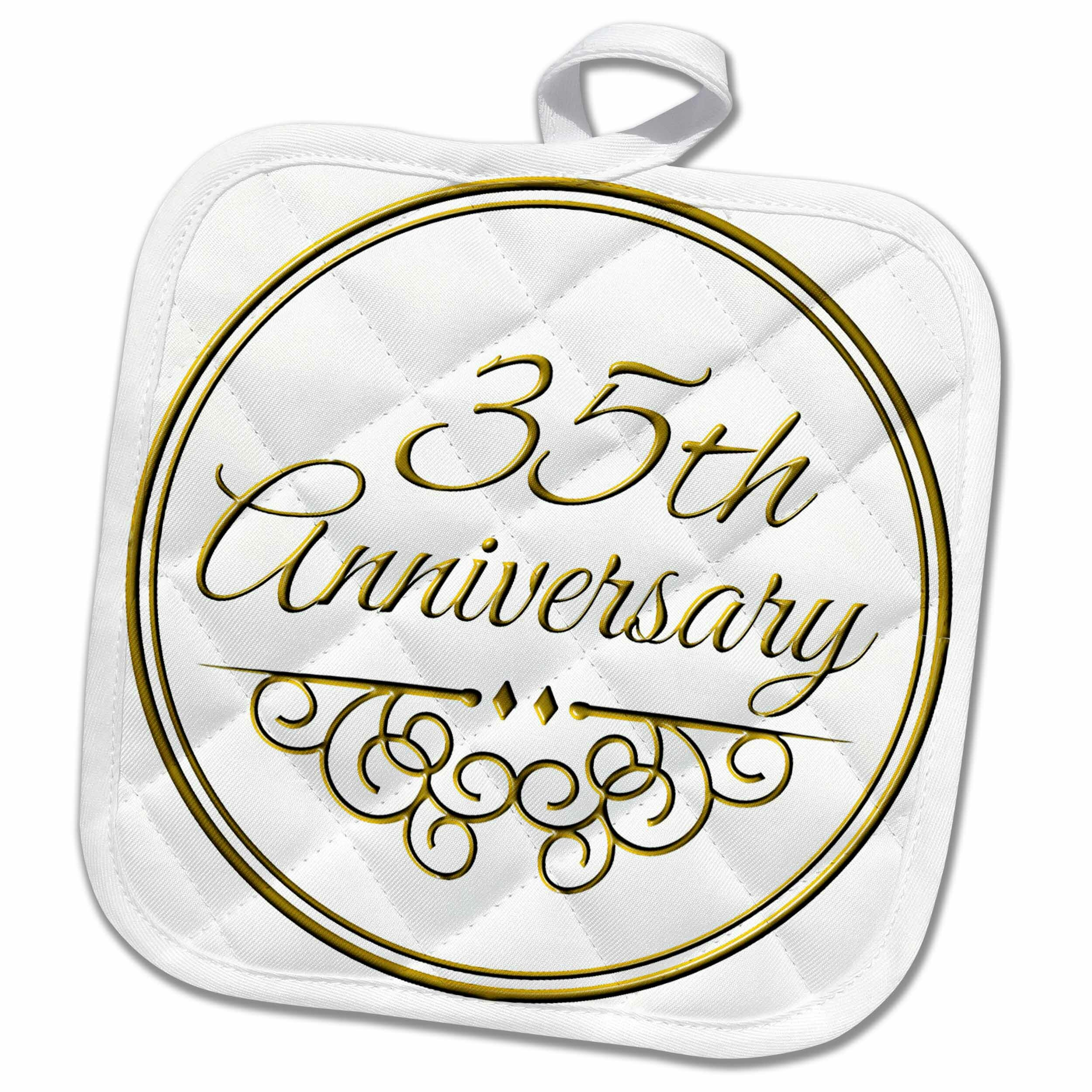 3dRose 35th Anniversary Gift Text for Celebrating Wedding Anniversaries 35 Years Married Together Pot Holder | Wayfair
