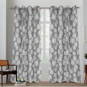 Kennebunkport Cotton Canvas Nature/Floral Semi-Sheer Grommet Curtain Panel (Set of 2)