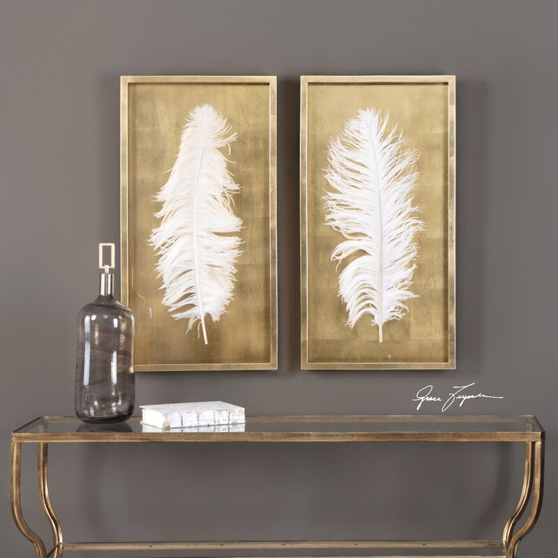 2 Piece Feathers Shadow Box Wall Décor Set